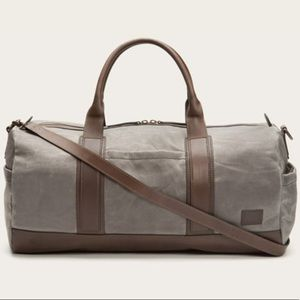 Frye Carter Olive Waxed Canvas Leather Duffle Bag.  299  428. New Frye Gray Carter  Duffel Bag 1dd89e5378a2f